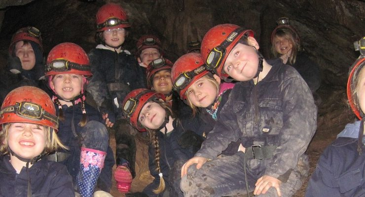 Caving during an outdoor pursuits trip
